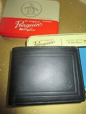 NEW Original Penguin by Munsingwear Wallet Men's ID $40 RV Black Frame Leather