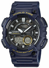 Casio Men's Databank 30 Watch, 100M, 3 Alarms, Chronograph, Resin, AEQ110W-2AV