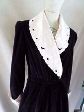 GEORGETTE TRABOLSI black velvet floral satin bathrobe lounge robe SMALL