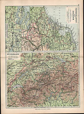 1895 VICTORIAN MAP ~ NETHERLANDS & BELGIUM LOWER SCHELDE AMSTERDAM ~ SWITZERLAND