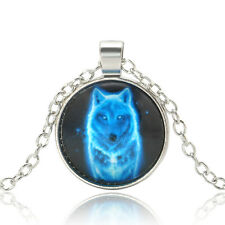 Vintage Wolf Picture Glass Cabochon Pendant Necklace Fine Jewelry for Men Women