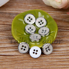 100pcs Round 4 holes White Glitter Resin Buttons Shirt Sewing Craft DIY 11.5mm