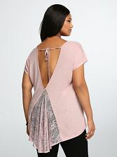 TORRID PLUS SIZE 6 6X 30 PINK LACE TOP SHIRT TUNIC BLOUSE TEE T PINUP GYPSY BOHO