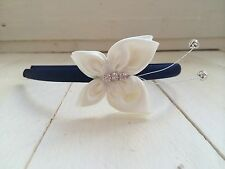 Navy Satin Hairband Alice Band Ivory Sparkly Butterfly Bridesmaid Flower Girl