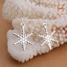 Beautiful 925 Sterling Silver Snowflake Dangle Drop Hook Earrings Jewelry Gift