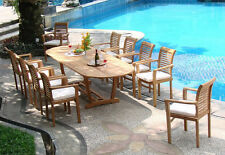 """Sam Grade-A Teak 11 pc Dining 117"""" Mas Oval Table 10 Stacking Arm Chair Set New"""