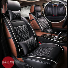 Luxury Breathable PU Leather Car Seat Cover Cushion Full Set Cover Black White