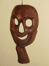 MASK COMEDY DRAMATIC COLOR BROWN HANDMADE DRAMA WOOD WALL ART HOME DECOR