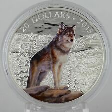 Canada 2015 $20 Imposing Alpha Wolf 1 oz 99.99% Pure Silver Color Proof