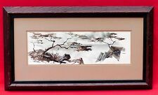 ASIAN ORIENTAL STYLE LANDSCAPE-TREE SEASCAPE WATERCOLOR PAINTING SIGNED ROBINSON