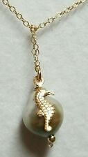 Gray baroque Tahitian pearl and seahorse charm solid 14k gold pendant necklace