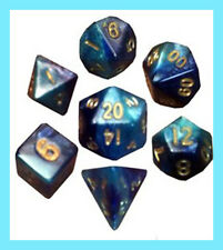 MDG 7 MINI POLYHEDRAL DICE SET METALLIC DARK BLUE / LIGHT BLUE GOLD NUMBERS Game