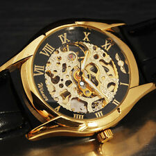 Gorgeous Hollow Carved Mens Skeleton Mechanical Watch Vintage Dress Leather Band