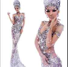 The Mermaid Silver Club Dance Costume Sequins Pageant Dress Formal Evening Gown