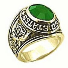 18K EP GOLD  US ARMY MILITARY INLAY RING sz 10 or T 1/2 EMERALD
