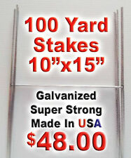 100 H Wire Stakes 10x15 for Coroplast Corrugated Political Campaign Yard Signs
