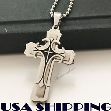 Small Unisex's Men's Women Silver Black Stainless Steel Cross Pendant Necklace