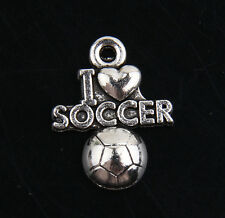 "10pcs Zinc Alloy ""I lOVE SOCCER"" Charms For Jewelry Making J369P"