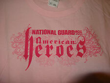 """FRUIT OF THE LOOM """"Pink Short Sleeve Tee Shirt"""" """"National Guard on Front Size XL"""