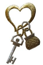 "3-3/8"" Golden Heart,Golden Silver Key/Lock Embroidery Iron On Applique Patch"