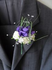 6 Purple & Ivory  Rose Corsage Buttonhole Wedding Flowers