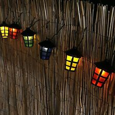 10 LED Coloured Party Lantern Garden Xmas Fairy Lights Festive Outdoor String
