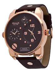 Omax N004R55A Men's XL Oversized Triple Time Zone Rose Gold Tone Analog Watch