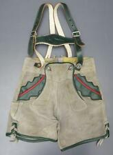 Vtg German Lederhosen Leather Shorts Suspenders Breeches Boy Child Zednik Small