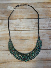 FREE PEOPLE NECKLACE HALF MOON DISTRESS TURQUOISE BLUE BOHO CUT OUT DESIGN #206