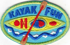 """""""KAYAK FUN"""" - WATER SPORTS - OUTDOOR FUN - KAYAKING -  IRON ON EMBROIDERED PATCH"""