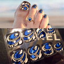 24pcs Blue Stars Design False Toenails Nails Art Full Tips Fake Nails + Box