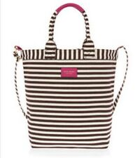 Henri Bendel Striped Magazine Tote Bag Nwt Dark Pink Sold Out Color