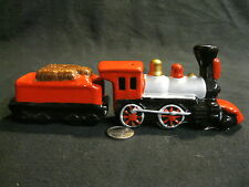 Steam Engine Railroad Train Salt and Pepper Shaker Love for Money Ceramic     14