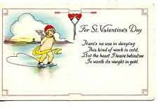Cupid Boy w/ Wings-Ice Skating Heart-Valentine Holiday Vintage Greeting Postcard