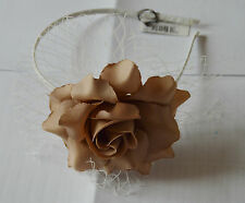 NEW Large brown fabric rose netting aliceband fascinator wedding races prom