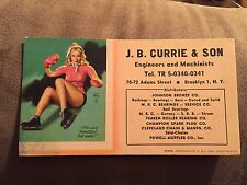 NICE PIN UP GIRL INK BLOTTER CARD advertising J.B.CURRIE&SON Engineers and Machi