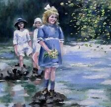 Stepping Stone Flowers  :  Nostalgic  Original Oil Painting by  Wendy Warwick