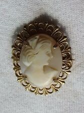 Vintage Metal Frame Carved Shell Cameo Pin