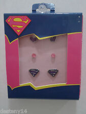 DC Comics Superman Logo/Heart And Stud Earrings 3 Pc. Set NIB