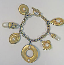Faux Pearl Link Charm Locket Bracelet Toggle Clasp Shabby Gold Tone Big Charms