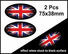 2Pcs Oval FADE TO BLACK & Union Jack British Flag vinyl car sticker Decal 75mm