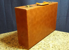 Vintage Antique Briefcase Faux Leather Darker Tan/Beige Hard-case