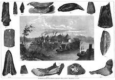 Pfahlbauten in Unteruhldingen, Maurach, Nußdorf, Original-Holzstich von 1864