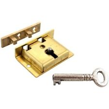 """S-8 BRASS CHEST LOCK WITH KEY 1-1/2"""" W. x 1"""" H. HIGH QUALITY ENGLISH MADE LOCK"""