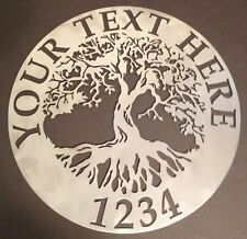 "Tree of Life Wall Art Custom Welcome Name Sign 18"" Metal Personalized"