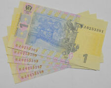 5 Consecutive UKRAINE.1 HRYVNIA UKRAINIAN PAPER MONEY,BANKNOTE CURRENCY Lot of 5