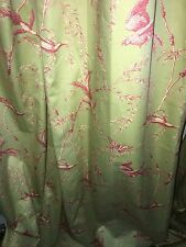 2- brunschwig fils  Mint Custom Lined Pleated Drapes Each Panel  28 X 100