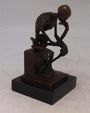 Modern Art Bronze Sculpture 'Macabre Skeleton Thinker' after Rodin - Height 15cm