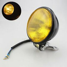 "5""Black Yellow Lens Metal Round Motorcycle Headlight Assembly High/Low Beam Lamb"