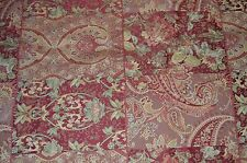 Burgundy/Gold Paisley & Floral Block Upholstery Fabric 1.44 yd